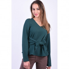 Bluza Pieces Albia V-Neck Verde Inchis, L, M, S, XL, XS