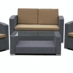 Set mobilier terasa,gradina KALINA MATO din ratan 4 piese masa, canapea si 2 fotolii culoare gri Raki