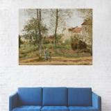 Tablou Canvas, Pictura Femeie si Copil in Sat - 20 x 25 cm