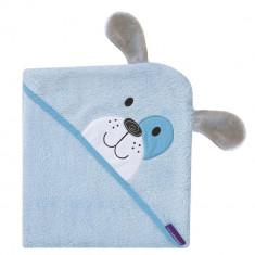 Prosop de baie pentru bebelus si mama Bamboo Puppy blue Clevamama for Your BabyKids