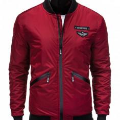 Jacheta pentru barbati, visiniu, cu fermoar, stil militar, casual, slim fit - C289