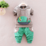 Trening bebelusi cu bluza gri - Balenuta (Marime Disponibila: 9-12 luni...