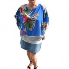Bluza casual, albastru regal, cu imprimeu floral, vaporoasa de vara