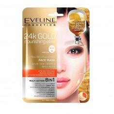 Masca de fata, Eveline Cosmetics, 24K GOLD ultra-revitalizanta 8in1, 20 ml