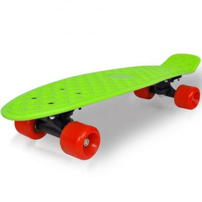 Skateboard retro cu placă verde și roți roșii foto