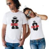 Cumpara ieftin Tricouri Personalizate Set Cuplu , Bumbac , – KING & QUEEN –