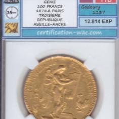 Moneda Aur 100 FRANCS GÉNIE 1878.A PARIS 22k 32,12g