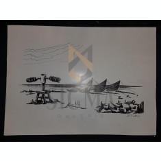 TINTU (TANTU) STEFAN RADU, BARCI LA PORTITA, SCHAB/PAPIER, GRAFICA, 1976
