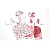 Cumpara ieftin Set 2 salopete de vara bebe in doua culori Rosu/Alb