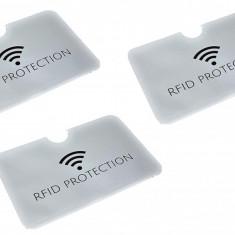 Set 3 folii argintiu  protectie credit card bancar contactless