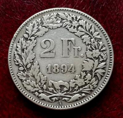 ELVETIA - 2 Franci 1894 B ( Francs - Franken ) Argint foto