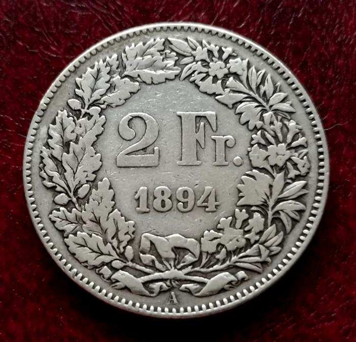 ELVETIA - 2 Franci 1894 B ( Francs - Franken ) Argint