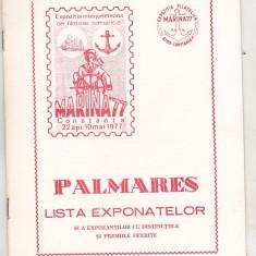 bnk fil Expozitia filatelie tematica Marina `77 Constanta catalog + palmares