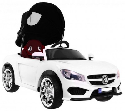 Masinuta electrica Roadster cu copertina, alb foto