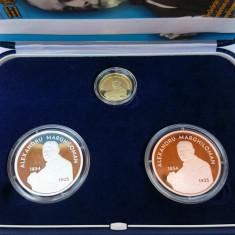 Set monede proof 100 de ani Marea Unire Alexandru M. - editie limitata