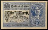 Bancnota istorica 5 MARCI - GERMANIA, anul 1917  *cod 500 A  = EXCELENTA!