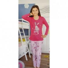 Pijama de fete din Bumbac,culoare Roz/Fucsia