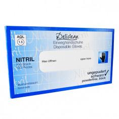 Manusi nitril Deliclean marimea XL, negre, 100 bucati/cutie, nepudrate