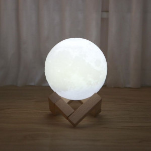 Lampa mini Luna 3D LED, buton tactil, reincarcabila, suport lemn