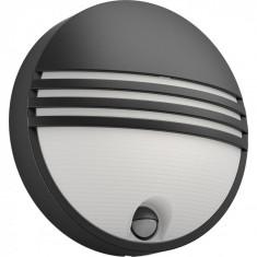 Aplica LED integrat pentru exterior Philips myGarden Yarrow, cu senzor miscare, 6W, 600 lm, 4000K, IP44, Negru
