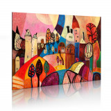 Tablou pictat manual - Satul colorat - 90 x 60 cm, Artgeist