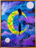 "Tablou pictat pictura acrilica 30x40 cm pisici ""Space Kitties"", Animale, Acrilic, Impresionism"