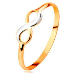 Inel din aur 585 - simbolul infinitului bicolor, lucios, brațe netede înguste - Marime inel: 59