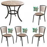 Set terasa masa rotunda POLYWOOD NATURAL 80x72cm cu 4 scaune 77x40cm , 4 perne scaun B003026-95314-95311 Raki