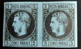 Cumpara ieftin ROMANIA 1867 CAROL I, 5 par. PERECHE ORIZONTALA, MI 15ya. COTA 80€×3=240€., Nestampilat