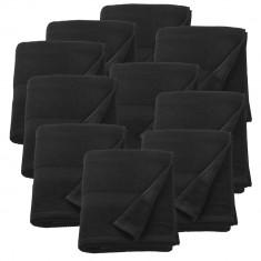 Set 10 prosoape strand frotir Anca, 100 x 150 cm, bumbac, negru