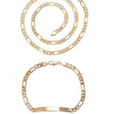 Set bijuterii Lant+Bratara,dublu placat Aur 18K