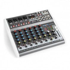 Vonyx VMM-K802, mixer cu 8 canale, port usb, receptor bt, 16 DSP, putere phantom +48V