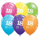 Baloane multicolore inscriptionate cu cifra 18, 32 cm, set 100 bucati, PRC