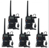 Set 5 statii radio Baofeng UV 5R Dual Band Tranciever + Bonus Casti cu microfon incluse