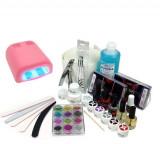 Sistem cu două faze - set de gel UV, lampă UV de 36W roz