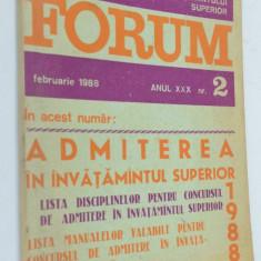 Revista Forum nr. 2 1988 admiterea in invatamantul superior