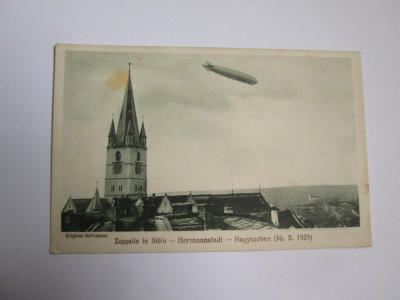 Raritate! Zeppelin in Sibiu,carte postala necir.inregistrare originala 16.X.1929 foto