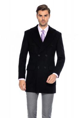 Palton barbati negru la doua randuri de nasturi B171 foto