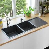 VidaXL Chiuvetă bucătărie lucrată manual cu sită negru oțel inoxidabil