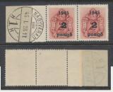 ROMANIA 1945 Ardealul de Nord Oradea I porto 2x2P pe 2f stampila Prima Zi marg.