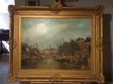 Tablou peisaj Venetian., Peisaje, Ulei, Altul