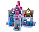 Jucarie Casa Mare pentru Copii cu 6 Camere, Papusi, Caine si Accesorii, Dimensiuni 29x18x16cm