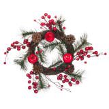 Coronita decorativa de Craciun, 38 cm, model conuri si fructe