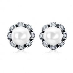 Set bijuterii cercei si latisor cu pandativ ,perlat.