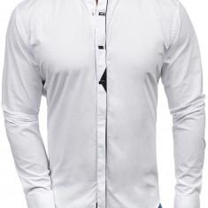 Cămașă elegantă pentru bărbat cu mâneca lungă albă Bolf 7711
