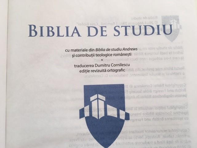 BIBLIA DE STUDIU TRAD D. CORNILESCU, EDITIE REVIZUITA CONTRIBUTII TEOLOGICE ROM.
