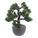 Cumpara ieftin Bonsai Artificial decorative, tip Pin, in ghiveci, Rezistent la umiditate, Verde, Aspect natural, pentru interior sau exterior, 31cm