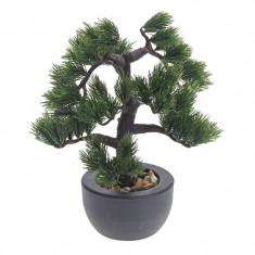 Bonsai Artificial decorative tip Pin in ghiveci Rezistent la umiditate Verde Aspect natural pentru interior sau exterior 31cm