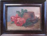 Natura statica cu bol si trandafiri - semnat  C.Roels 1926