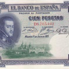 Bancnota Spania 100 Pesetas 1925 - P69c XF+